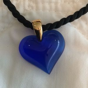 Lalique blue glass heart 💙 pendant and silk rope